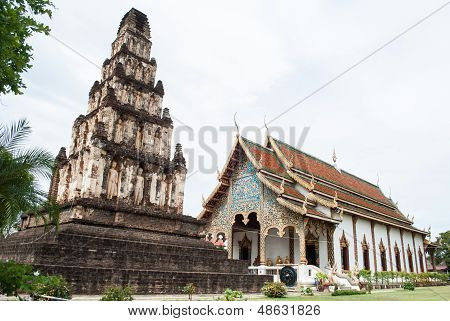 Pagoda In Thai Temple At Lamphun Province, Northern Thailand.