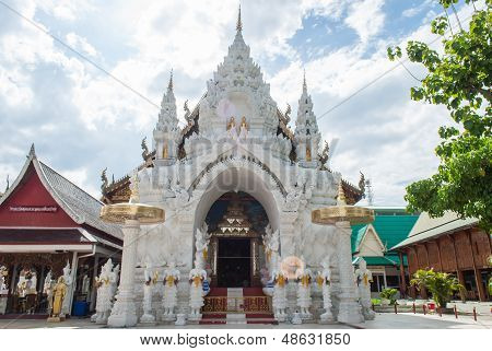Ancient Thai Temple In Lamphun Province, Northern Thailand.