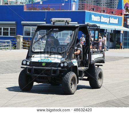 NYPD vehicle at Coney Island Boardwalk in Brooklyn