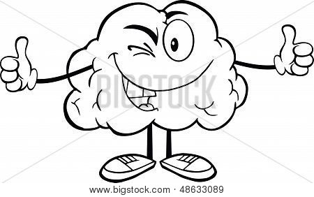 Outlined Winking Brain Character Giving A Thumb Up