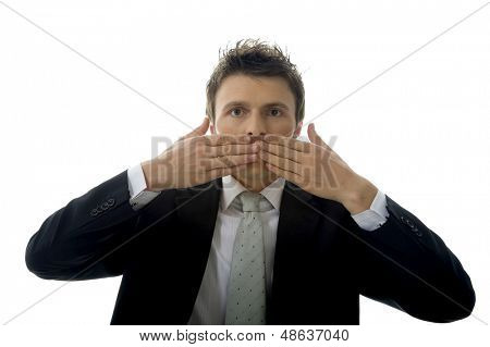Businessman is making See No Evil, Hear No Evil, Speak No Evil.