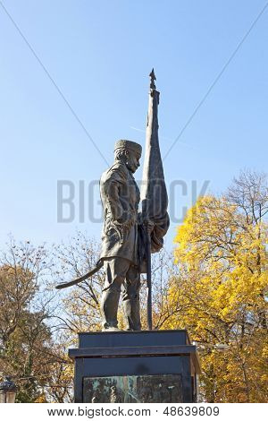 Statue of a commander in the city center of Sofia, Bulgaria.