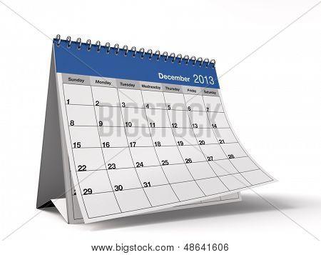 Hi-res 3D folded desktop calendar for December 2013.
