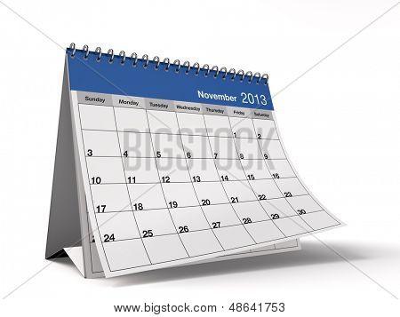 Hi-res 3D folded desktop calendar for November 2013.