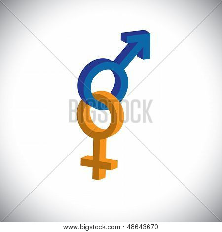 Male & Female Sex(gender) Icons Or Symbols In 3D- Vector Graphic