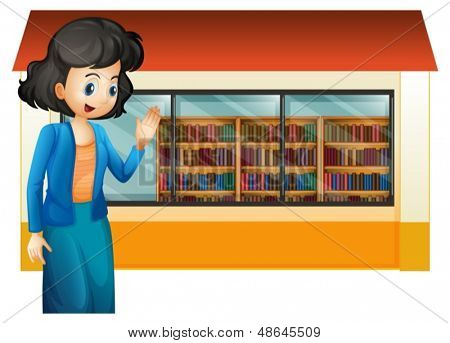 Illustration of a libririan outside the library on a white background
