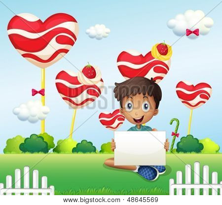 Illustration of a smiling boy holding an empty signage at the candyland