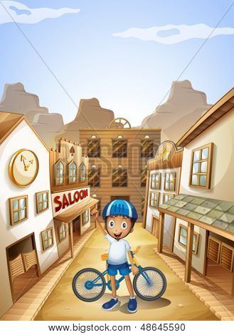 Illustration of a boy and his bike near the saloon bar