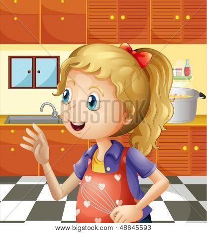 Abbildung eines jungen Mädchens in der Küche mit einen mixer