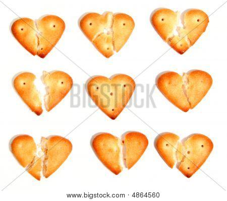Salty Cookies In The Form Of Broken Hearts