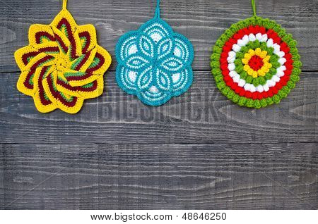 Knit Flower Potholders.
