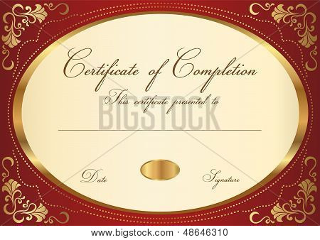 Gold Certificate / Diploma template with gold floral (swirl, scroll) pattern