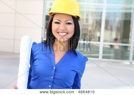 Pretty Asian Woman Architect