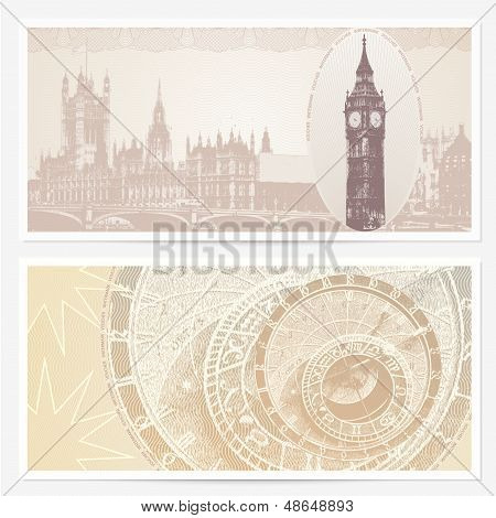 Gift Voucher (coupon) template with guilloche pattern (watermarks) and landmarks