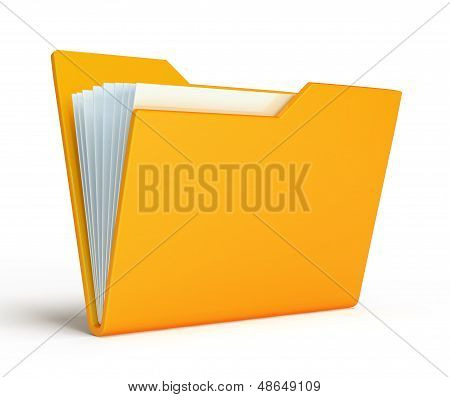 Orange folder.  Isolated on white background
