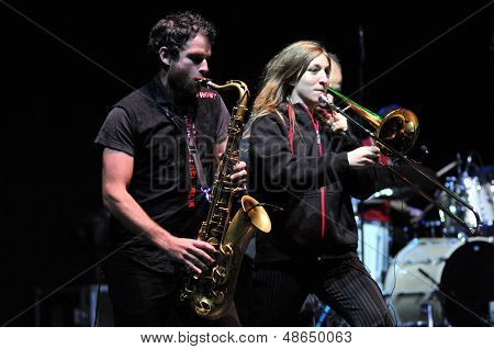 Rotfront band from Berlin performs a live concert