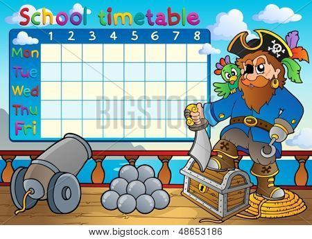 School timetable thematic image 3 - eps10 vector illustration.