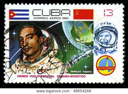 Cuba - Circa 1981: A Stamp Printed In Cuba, 20Th Anniversary Of First Flight Into Space , 13 Centavo