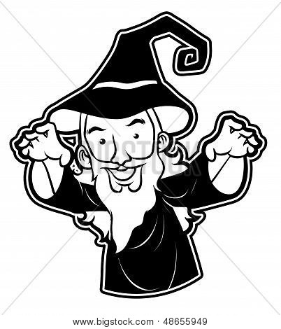 black and white clipart wizard