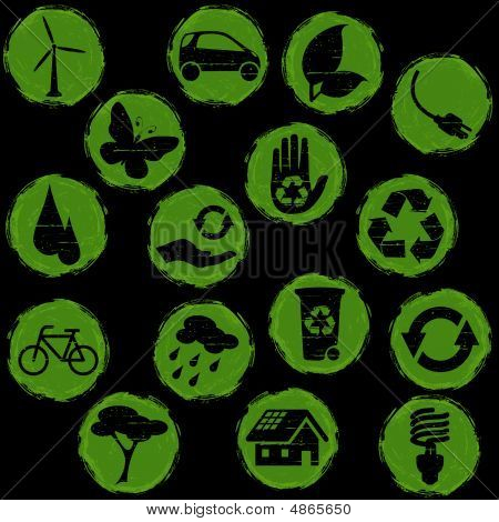 Green And Black Grunge Eco Buttons