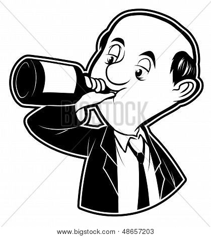 black and white clipart drunk man