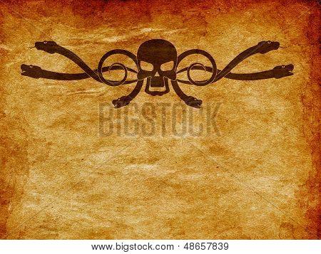 Grunge Skull And Snake