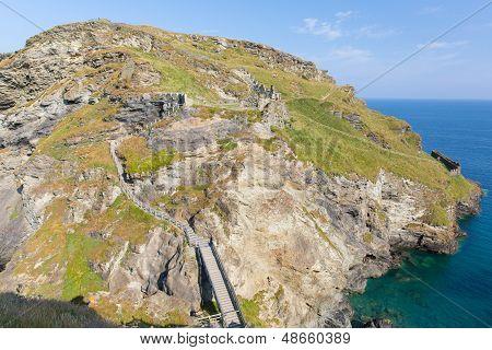 Tintagel Island Cornwall England blue sky