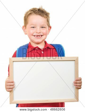 Back to school education concept with child wearing backpack and holding sign isolated on white