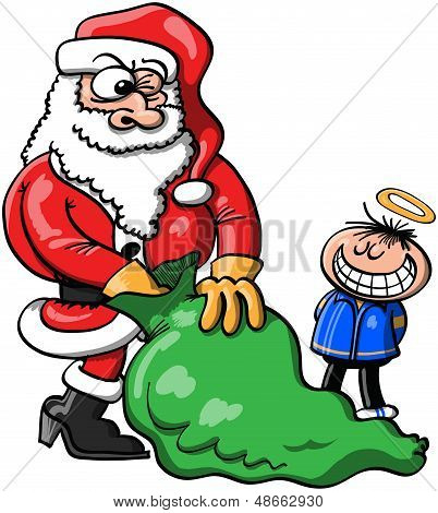 Santa Claus choosing a Christmas gift for a boy who pretends to be a good one