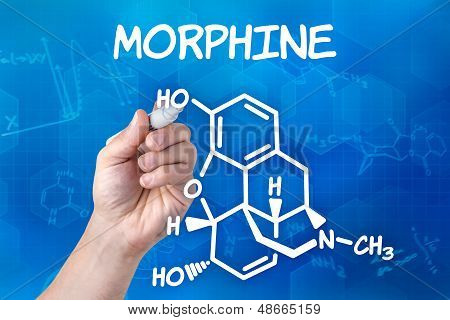 hand with pen drawing the chemical formula of Morphine
