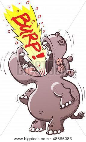Hippo burping loudly
