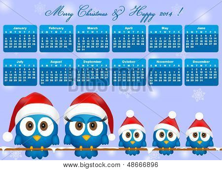 2014 Calendar With Funny Blue Birds Family