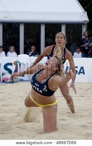 12/08/2011 LONDON, ENGLAND, Lucy Boulton & Denise Johns (GBR)  during the FIVB International Beach Volleyball tournament, at Horse Guards Parade, Westminster, London.