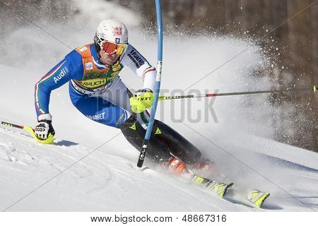 VAL D'ISERE FRANCE. 12-12-2010. GROSS Stefano ITA attacks a control gate during the FIS alpine skiing world cup slalom race on the Bellevarde race piste Val D'Isere.