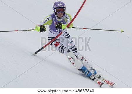 VAL D'ISERE FRANCE. 19-12-2010. Maria Riesch (GER) during the Slalom section of the women's Super Combined race at the FIS Alpine skiing World Cup Val D'Isere France.