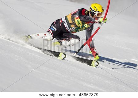 VAL D'ISERE FRANCE. 12-12-2010. KOSTELIC Ivica CRO attacks a control gate during the FIS alpine skiing world cup slalom race on the Bellevarde race piste Val D'Isere.