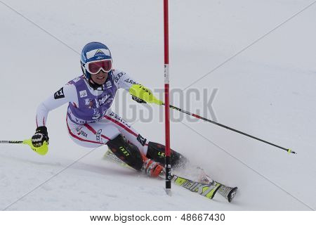 VAL D'ISERE FRANCE. 19-12-2010. Stefanie Koehle (AUT) during the Slalom section of the women's Super Combined race at the FIS Alpine skiing World Cup Val D'Isere France.