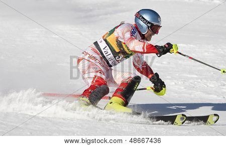 VAL D'ISERE FRANCE. 12-12-2010. PALANDER Kalle FIN attacks a control gate during the FIS alpine skiing world cup slalom race on the Bellevarde race piste Val D'Isere.