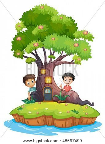 Illustration of the two boys at the back of the enchanted treehouse on a white background