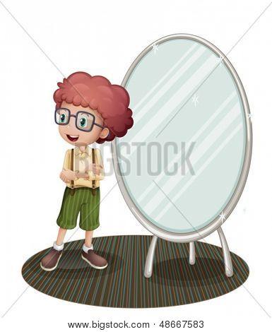 Ilustración de un joven cerca del espejo sobre un fondo blanco