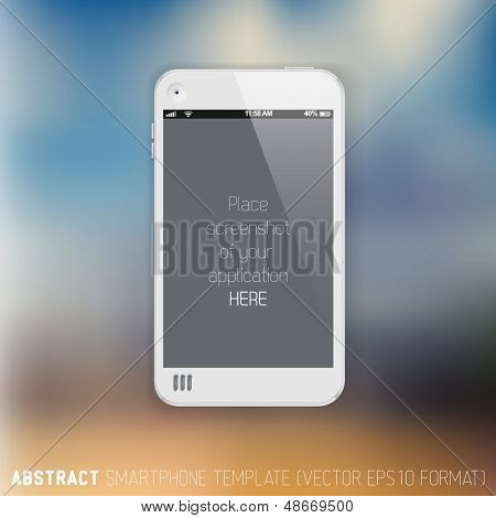Abstract white mobile phone template with place for your application screenshot on a blurred background