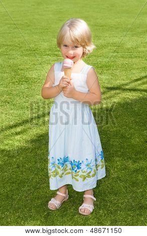 Little Girl Eating Ice Cream Outdoor
