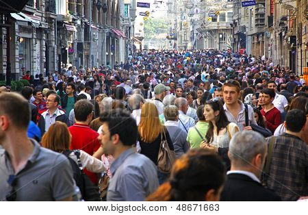 People Walking On Istiklal Street In Istanbul