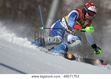 VAL D'ISERE FRANCE. 12-12-2010. ZURBRIGGEN Silvan SUI  attacks a control gate during the FIS alpine skiing world cup slalom race on the Bellevarde race piste Val D'Isere.