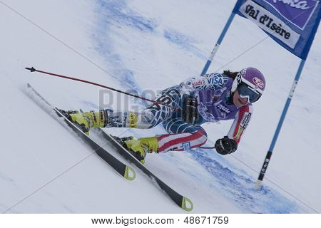 VAL D'ISERE FRANCE. 19-12-2010. Megan Mcjames (USA) during the Super Giant Slalom section of the women's Super Combined race at the FIS Alpine skiing World Cup Val D'Isere France.