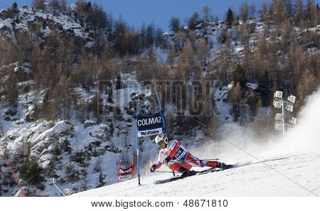 VAL D'ISERE FRANCE. 11-12-2010. BANK Ondrej (CZE)  speeds down the course during  the FIS alpine skiing world cup giant slalom race on the Bellevarde race piste Val D'Isere.