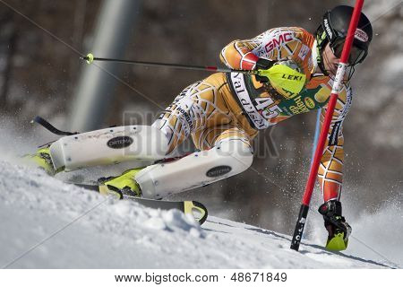 VAL D'ISERE FRANCE. 12-12-2010. BIGGS Patrick CAN attacks a control gate during the FIS alpine skiing world cup slalom race on the Bellevarde race piste Val D'Isere.