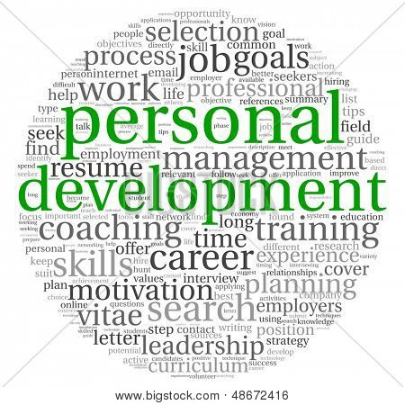 Personal development and career concept in word tag cloud on white