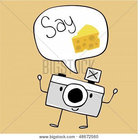 dibujos animados de cámara decir queso
