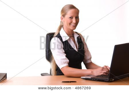 Young Woman Is Working With Her Laptop